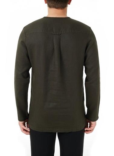 Hugo Boss  % 100 Keten Oversize Fit Uzun Kollu Gömlek Erkek Gömlek 50450760 306 Haki